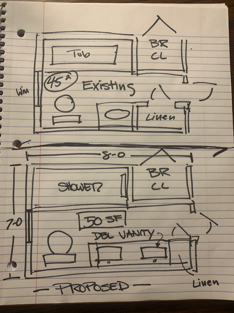 Bathroom Layout Sketch for Contemporary Remodel