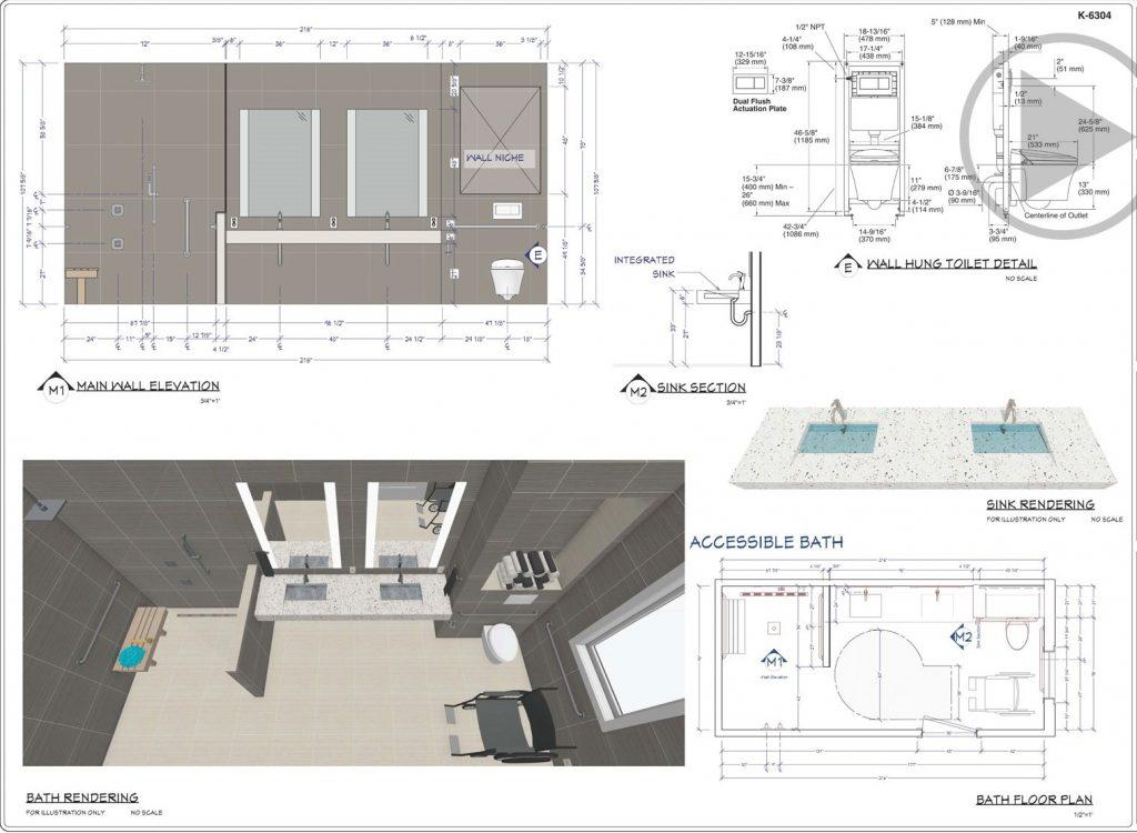 Bathroom Floor Plan and 3D Renders by Jensen Hus