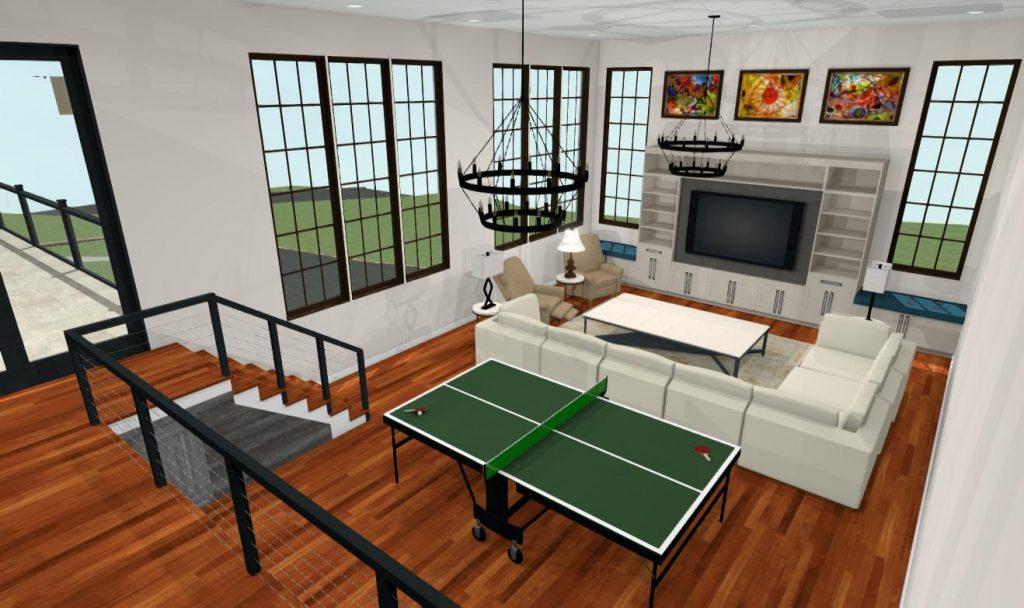 Jensen Hus 3-d rendering of Belmont Hill great room