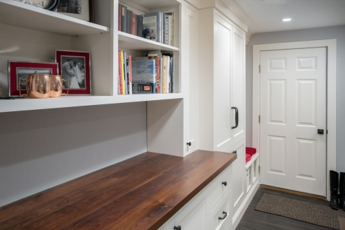 Seating and Shelving Wellesley Basement Contemporary Design Build