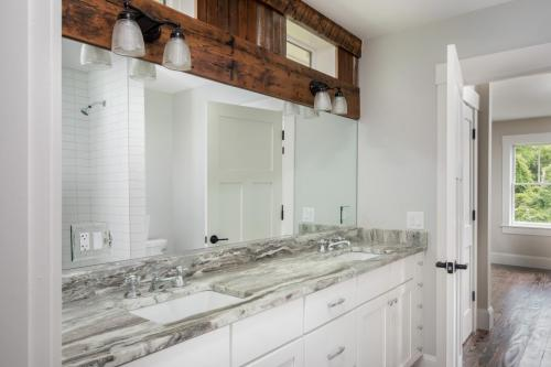 Bathroom Mirror and Wood Detail Contemporary Design Sherborn MA