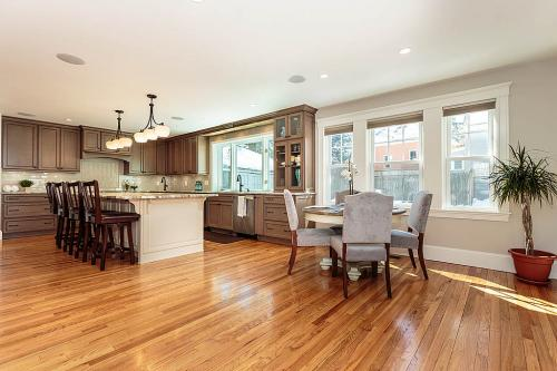 Kitchen and Dining Room Bright Belmont MA Contemporary Design