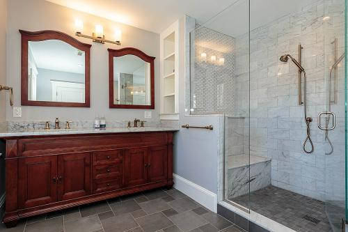 Bathroom Mirrors and Shower Bright Belmont MA Contemporary Design