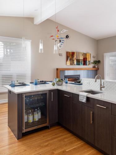 Kitchen with Mini Fridge Contemporary Design Newton MA