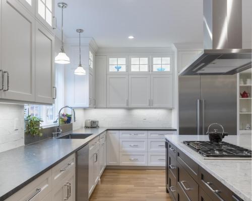 Full Kitchen Remodel Island Contemporary Design Acton MA