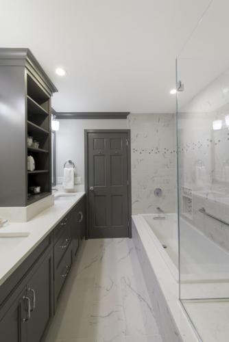 Master Bathroom Facing Door Contemporary Design Acton MA