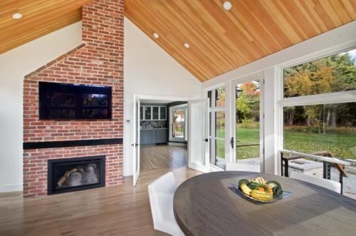 Fireplace in Sunroom Contemporary Design in Weston MA