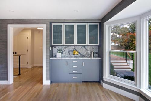 Bar in Dining Room Contemporary Design in Weston MA