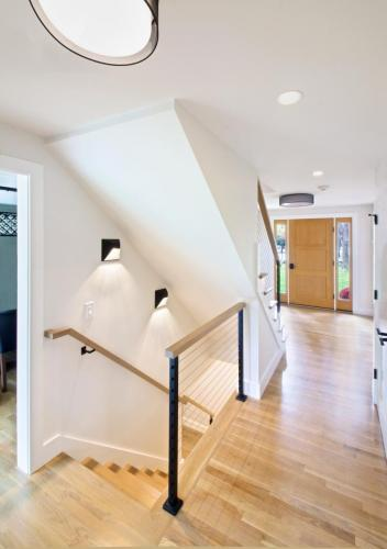 Cable Rail Stairs and Step Lights Contemporary Design in Weston MA