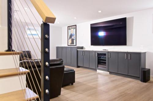 Basement Remodel Contemporary Design in Weston MA