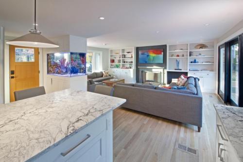 Family Room Contemporary Design in Weston MA