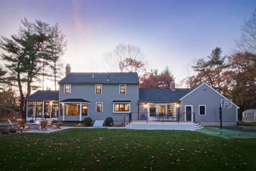 Back Yard Finished Contemporary Design Home in Weston MA